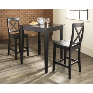 Crosley Furniture 3 Piece Pub Dining Set with Tapered Leg and X Back Stools in Black Finish   KD320005BK
