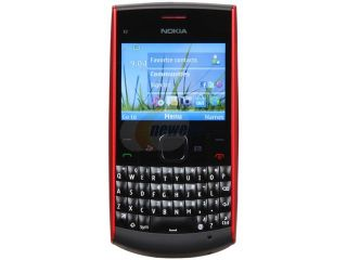 Nokia  Black/Red Unlocked GSM Bar Phone with Full QWERTY Keyboard / Bluetooth v2.1 (X2 01)