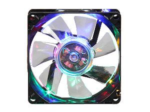 APEVIA CF8SL B4C 80mm Multi Color LED Case Fan w/Grill