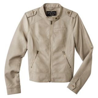 Coffee Shop Womens Faux Leather Jacket  Cream M