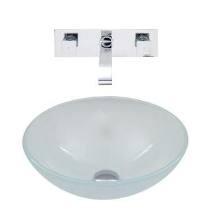 Vigo Vessel Sink in White Frost and Wall Mount Faucet Set in Chrome VGT274